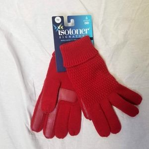 Isotoner SignatureRed Knit Gloves